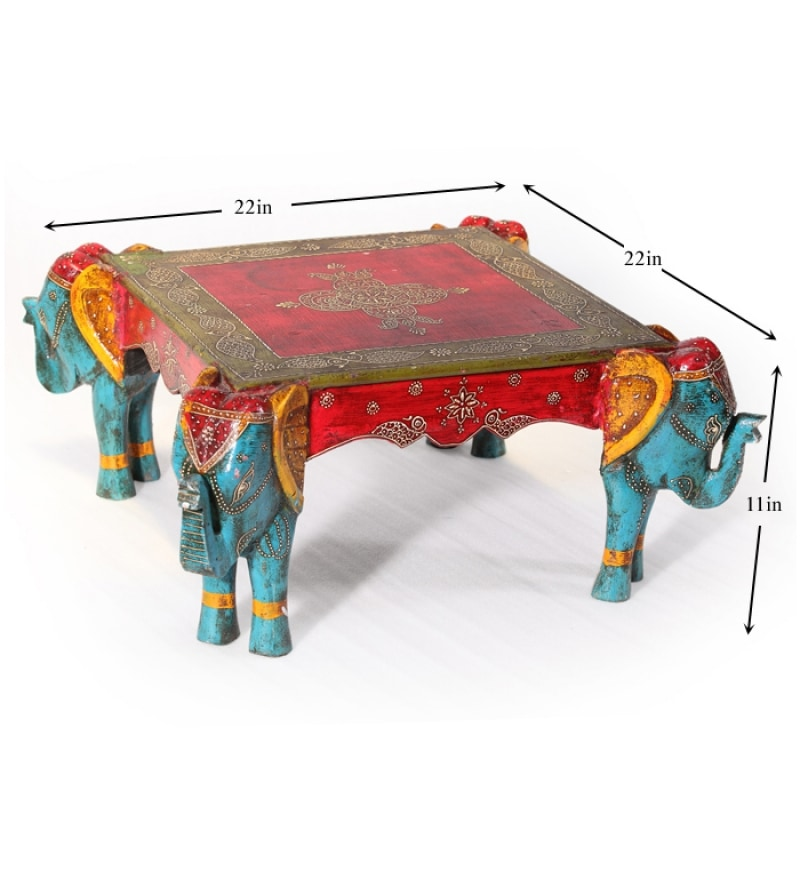 Click to Zoom In/Out - Rangilo Rajasthan Square Elephant Coffee Table By Mudramark Online