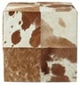 Square Leather Pouffe in Tan and White Colour by SWHF