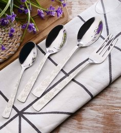 SS Silverware Heavy Flower Design Stainless Steel Cutlery Sets Set Of 25