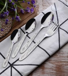 SS Silverware Heavy Leaf Design Stainless Steel Cutlery Sets Set Of 25
