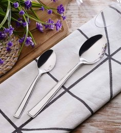 SS Silverware Large & Small Stainless Steel Spoons Set Of 16