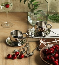 SS Silverware Stainless Steel Coffee Mugs With Saucers