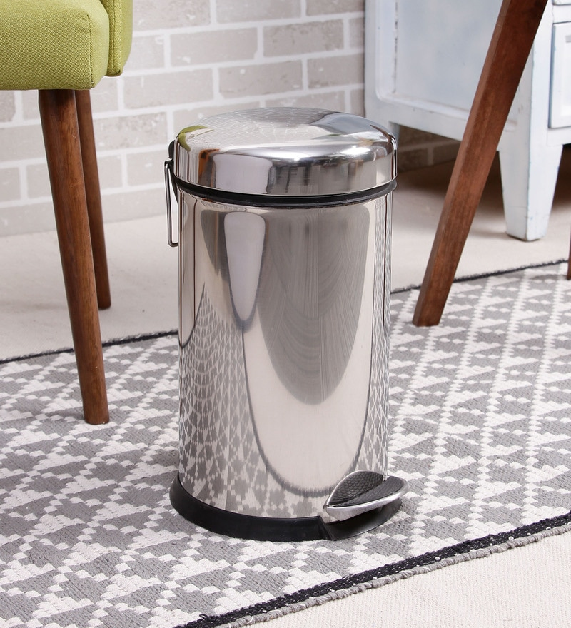 SS Silverware Plain Silver 5 L Pedal Dustbin with Domb Design Lid