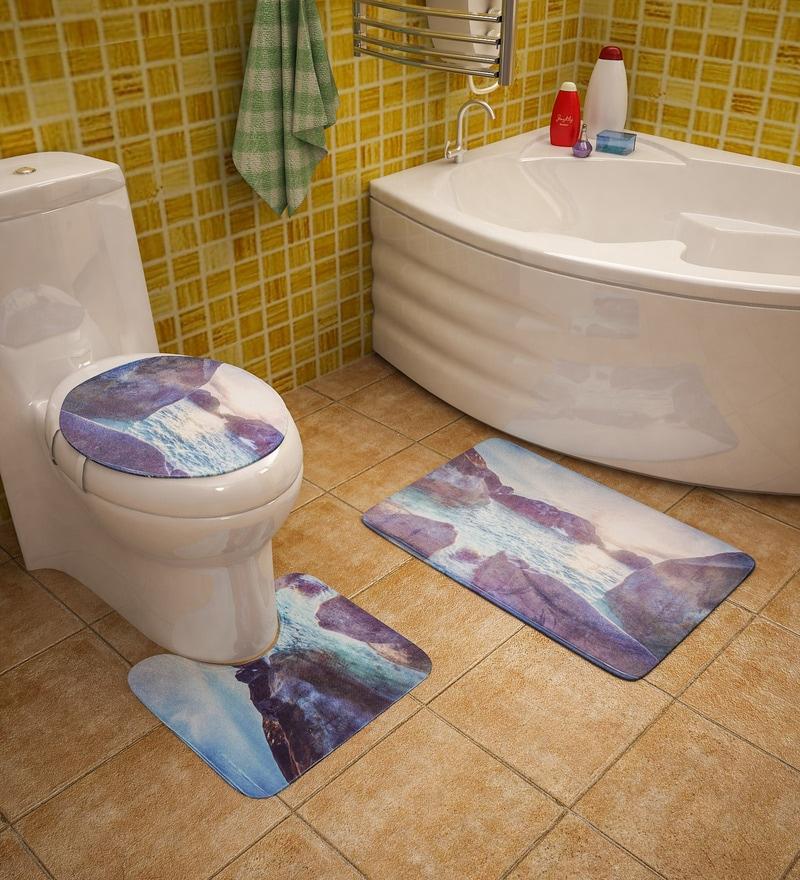 Sky Blue Cotton Bath Mat - Set Of 3 by SS Silverware