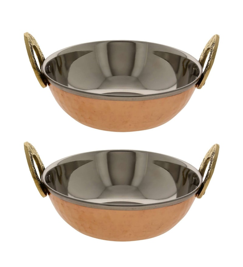 Stainless Steel & Copper Bottom Kadhai - Set of 2 by SS Silverware