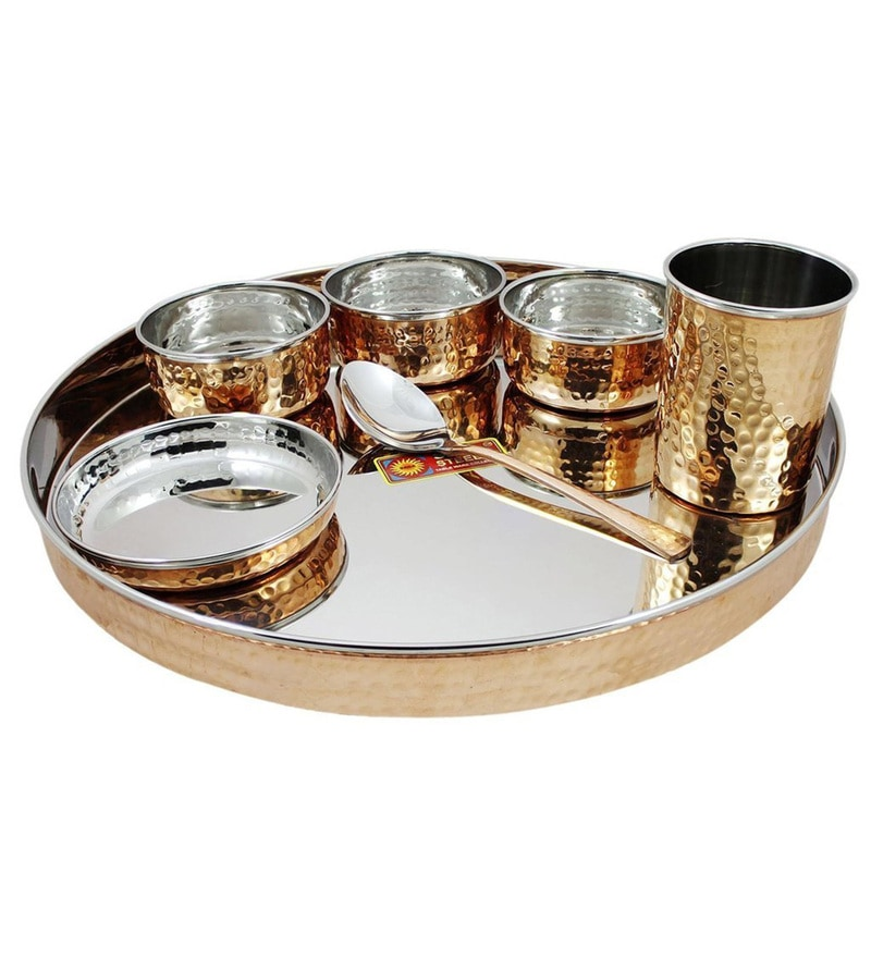 Stainless Steel with Copper Coating Dinner Set -Set of 7 by SS Silverware
