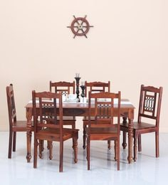 Stafford Six Seater Dining Set In Honey Oak Finish