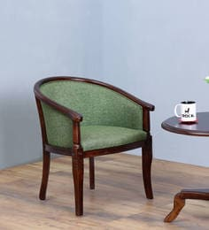 Stalley Arm Chair In Green Color With Warm Chestnut Finish