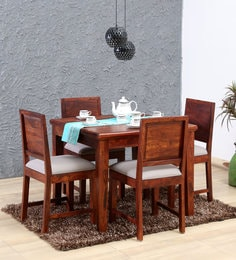 Stanfield Solid Wood Four Seater Dining Set In Honey Oak Finish
