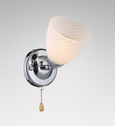 Stello White And Silver Metal And Glass Wall Light