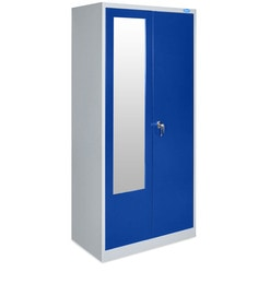 Stephen Two Door Wardrobe With Locker In Grey & Blue - 1478883