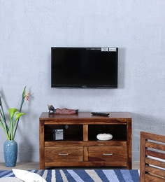 Stigen Entertainment Unit With Two Doors In Provincial Teak Finish