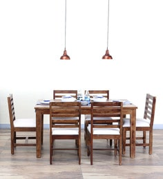 Stigen Six Seater Dining Set In Provincial Teak Finish