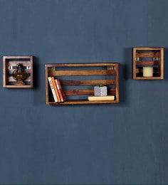 Stigen Solid Wood Boxy Wall Shelf In Provincial Teak Finish - 1677586