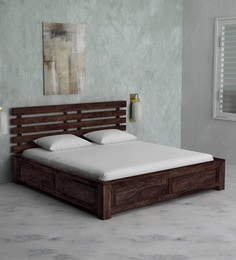 Stigen Solid Wood King Size Bed With Box Storage In Provincial Teak Finish