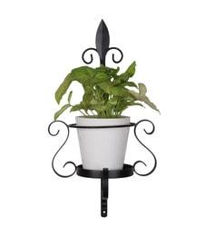 Studio Earthbox Black And White Metal & Ceramic 11 X 11 X 23 Inch Hanging Planter With Ceramic Pot