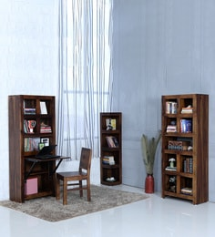 Acropolis Solid Wood Folding Study Laptop Table With Book Shelf In Provincial Teak Finish