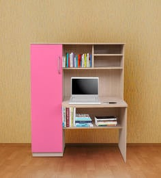 Charmant Study Table With Shelves U0026 Cabinet In Sandy Sawline U0026 Pink Finish