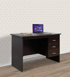 Study Table With Three Drawers In Wenge Finish