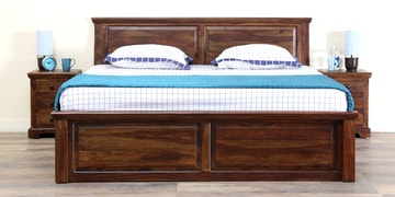 Stanfield Solidwood Queen Bed With  Box Storage In Provincial Teak Finish