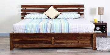 Stigen Solidwood Queen Bed With Drawer Storage In Provincial Teak Finish