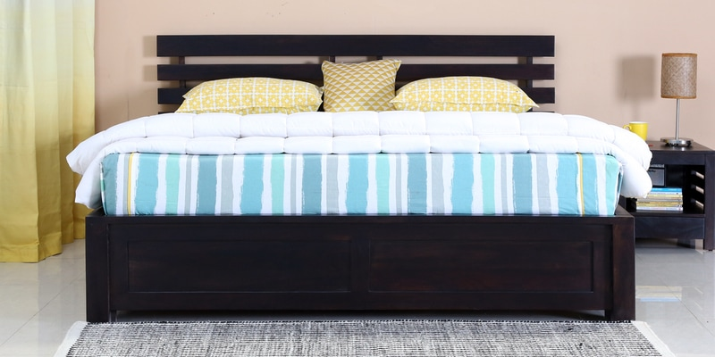Stigen Solidwood King Bed with Box Storage in Warm Chestnut Finish by Woodsworth