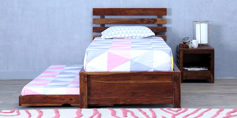 Stigen Solidwood Single Bed with Trundle in Provincial Teak Finish by Woodsworth