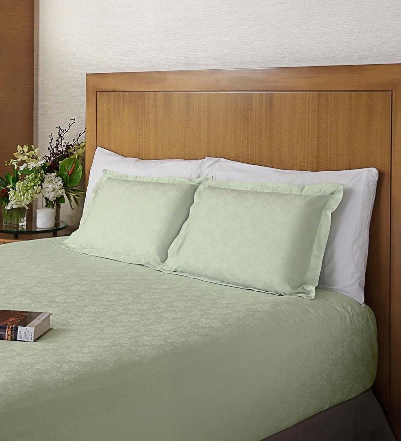 Seagreen Cotton Jacquard Bedsheet Set by St. Cloud