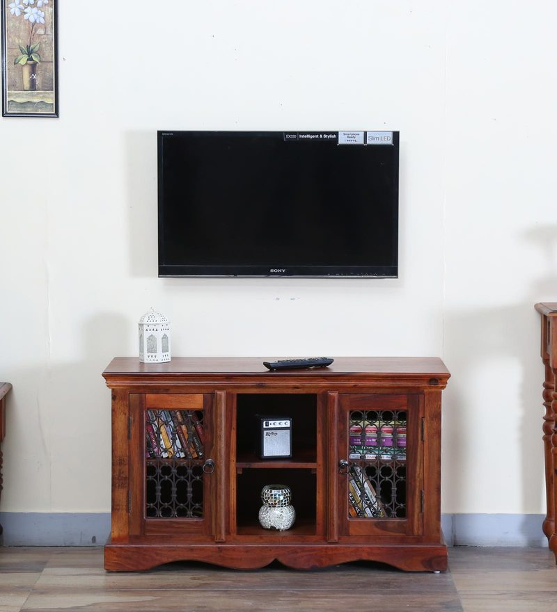 Stafford High Entertainment Unit in Honey Oak Finish by Amberville