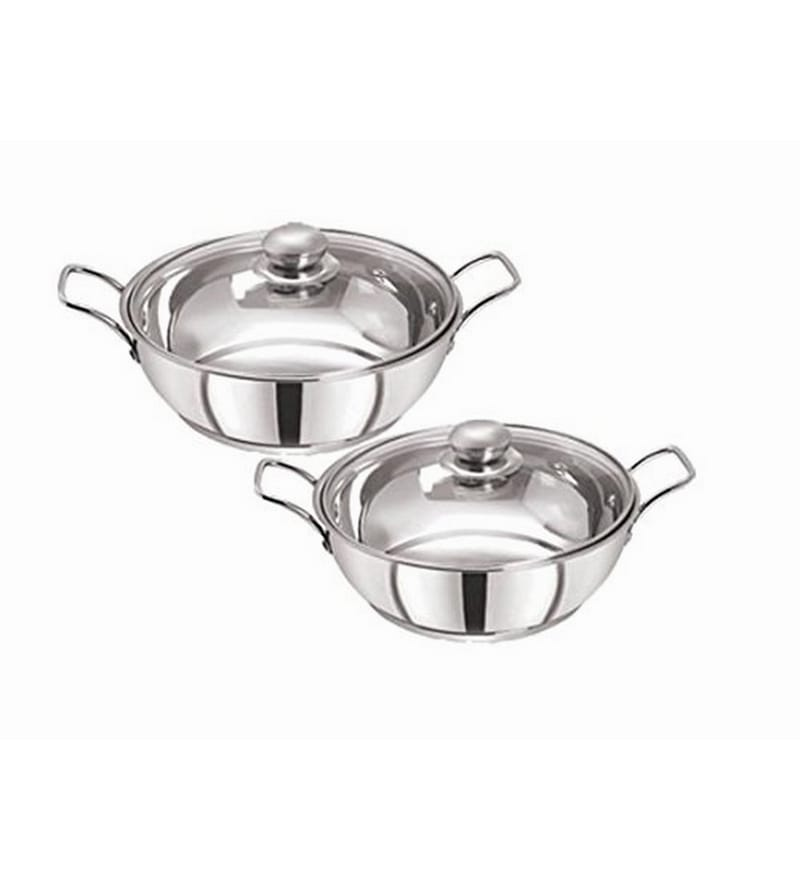 Stainless Steel Induction Compatible Sandwich Base Kadai Set with Glass Lid by Pristine