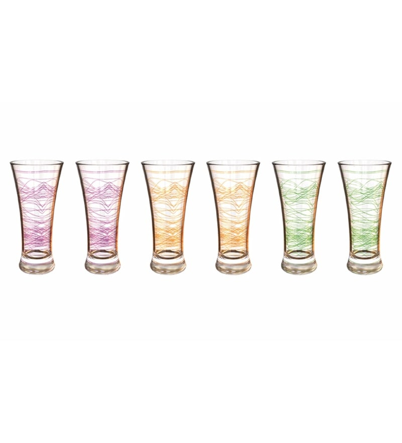 Stallion Barware Neon Unbreakable Polycarbonate 300 ML Breeze Glasses - Set of 6