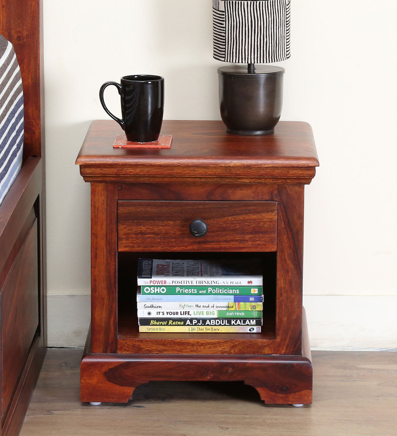 Stanfield Bed Side Table in Honey Oak Finish by Amberville