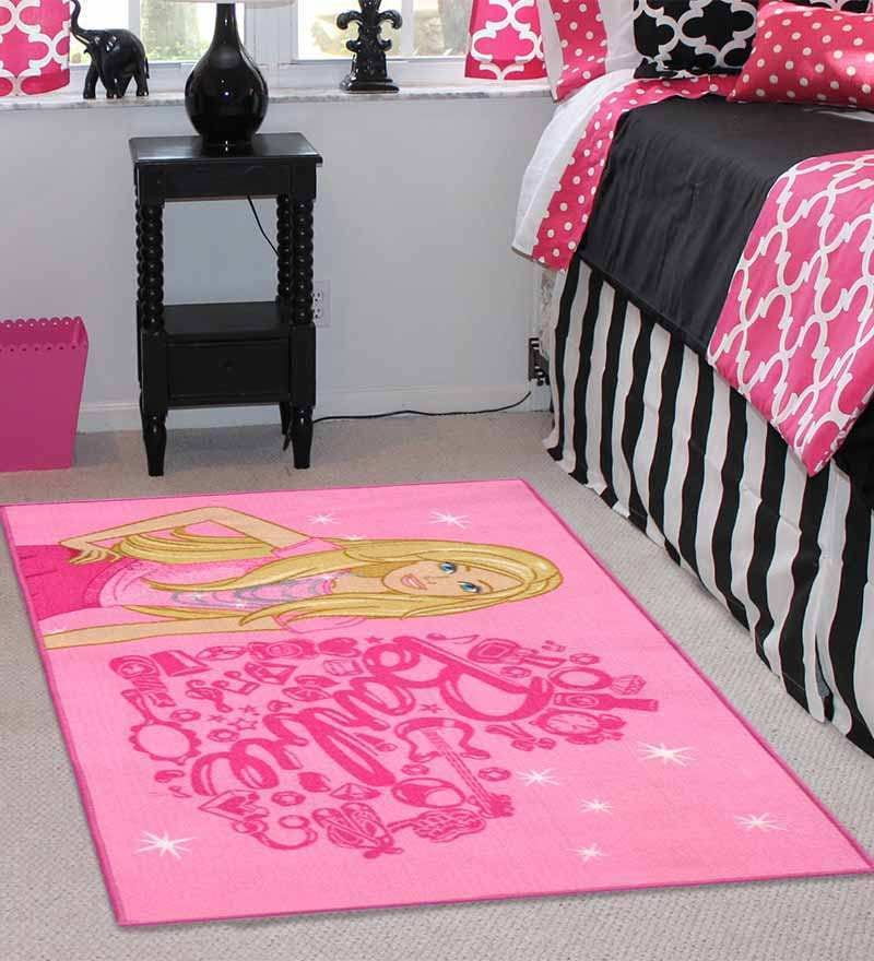 Barbie 2Pc Combo Rug Feet Door Mat Fine Pink by Status