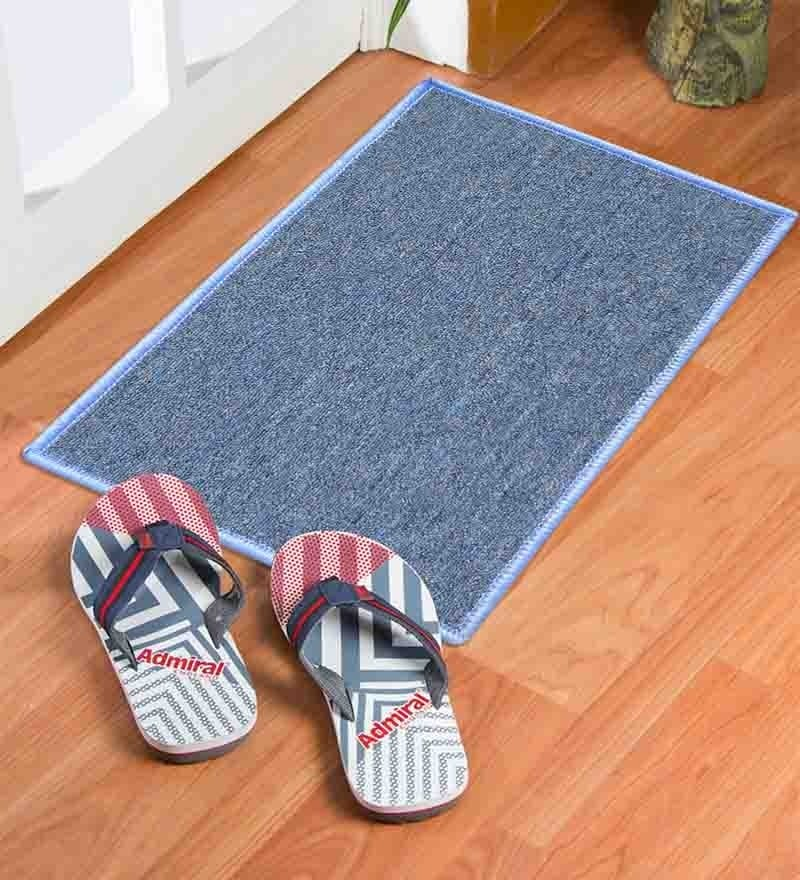 Blue Nylon 23 x 15 Inch Solid Door Mat by Status