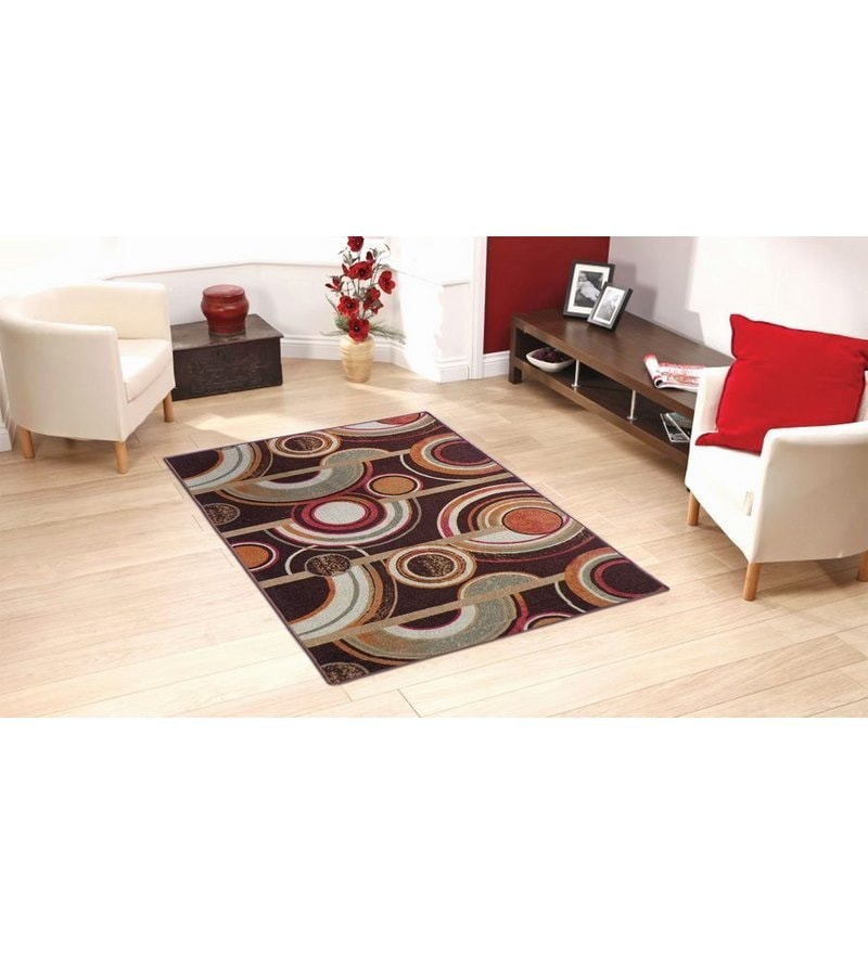 Brown Circle Print Taba Rug by Status