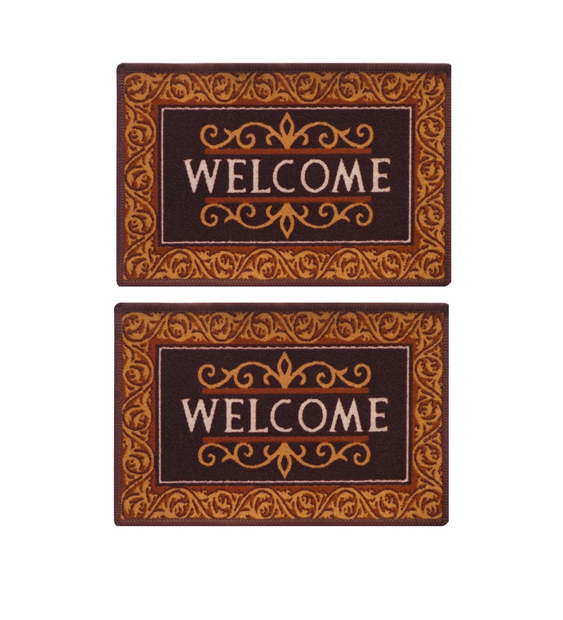 Brown Delure 23 x 15 Inch Welcome Door Mat - Set of 2 by Status