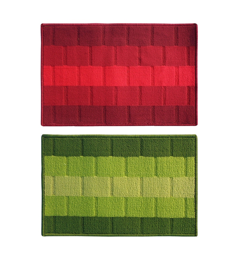 Red & Green Delure 23 x 15 Inch Bricked Door Mat - Set of 2 by Status