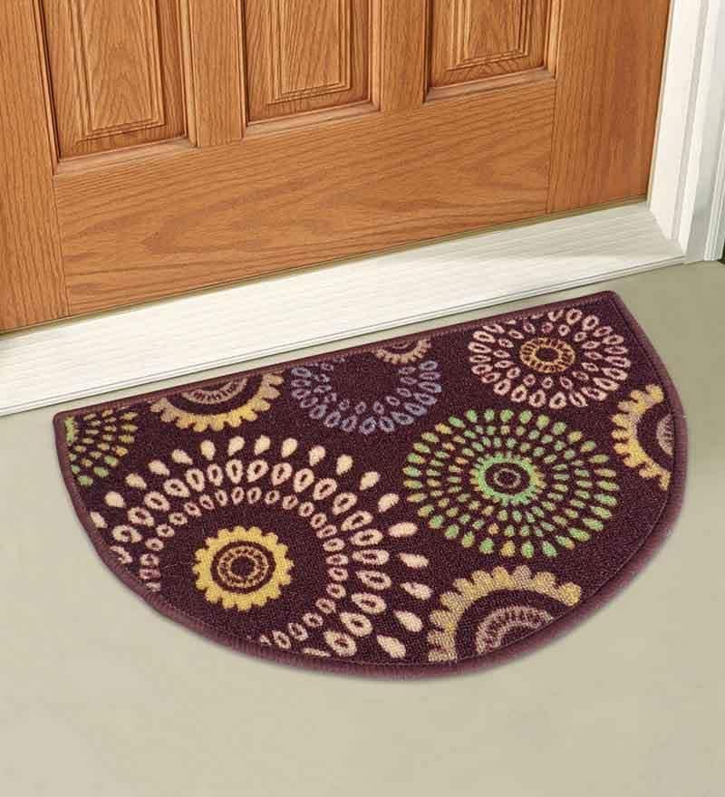 Brown Taba Floral D Shape Door Mat by Status