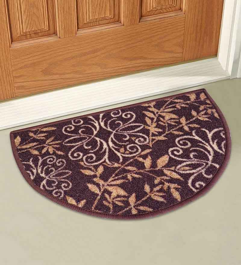 Brown Nylon 23 x 15 Inch Taba Floral D Shape Door Mat by Status