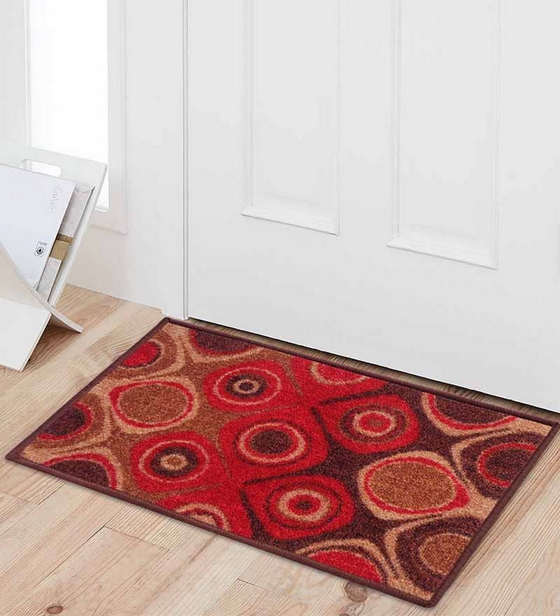 Red Nylon 23 x 15 Inch Taba Door Mat by Status