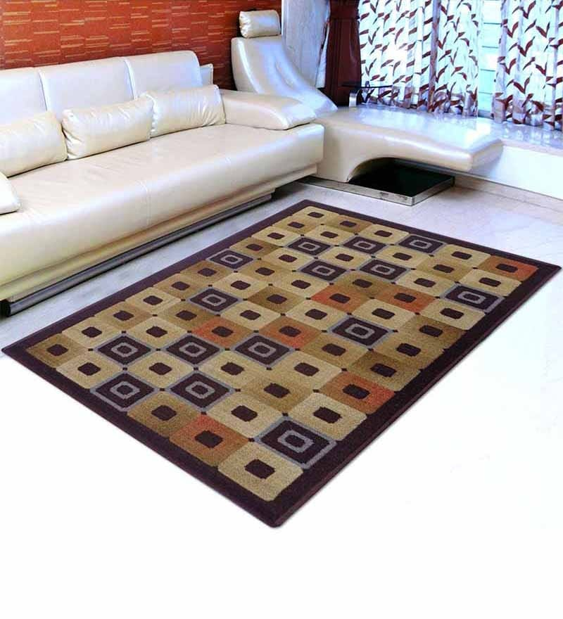 Brown Nylon 55 x 22 Inch Striped & Checkered Area Rug by Status