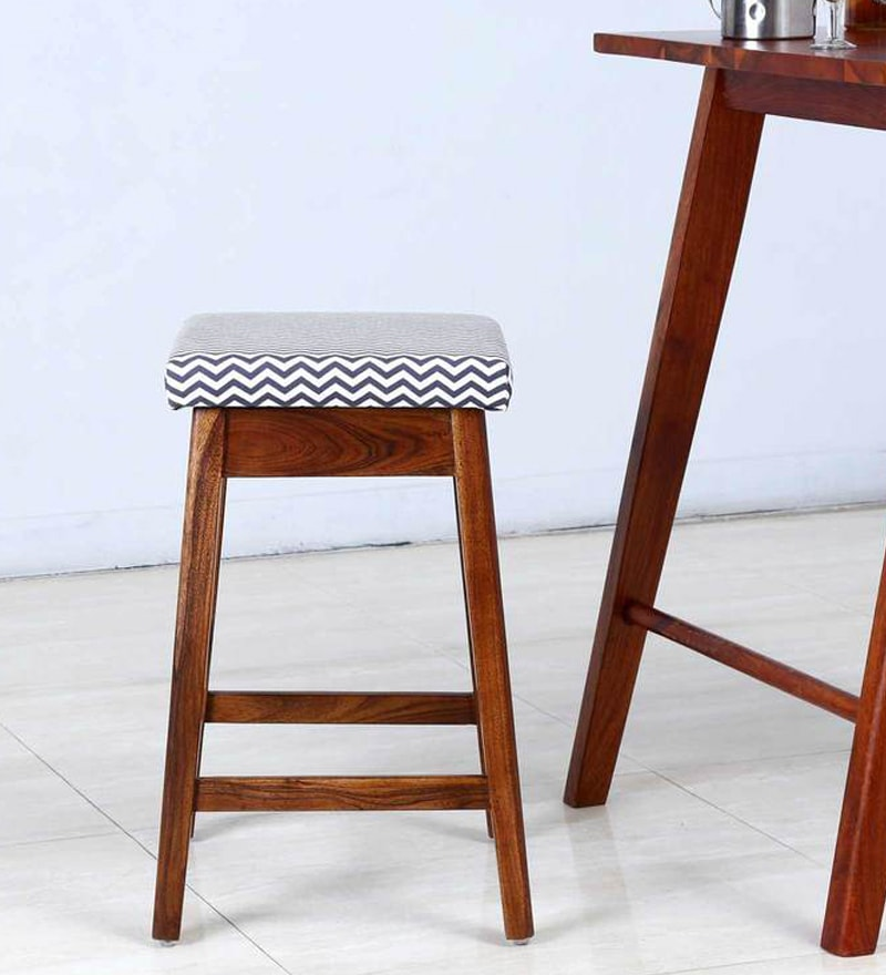 Steel Blue Upholstered Bar Stool in Provincial Teak Finish by Woodsworth