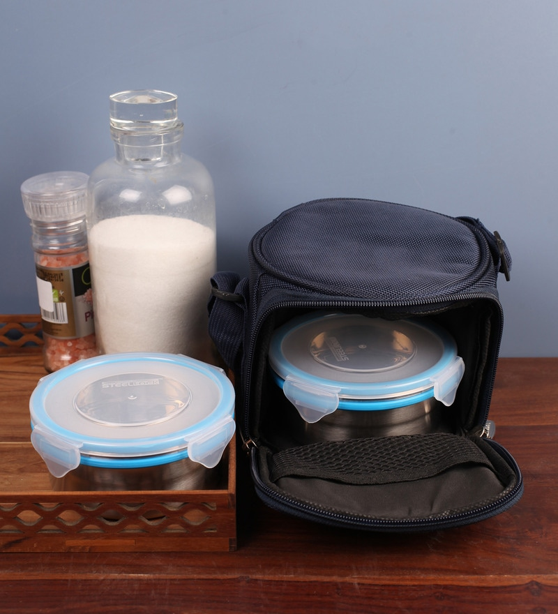 Steel Lock Airtight 2 pc Lunch Meal Tiffin Box with Insulated bag