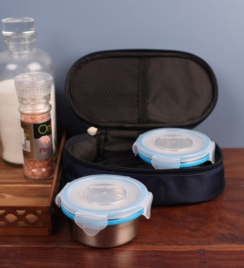 Steel Lock Airtight 2 pc Lunch Meal Tiffin with Insulated Bag