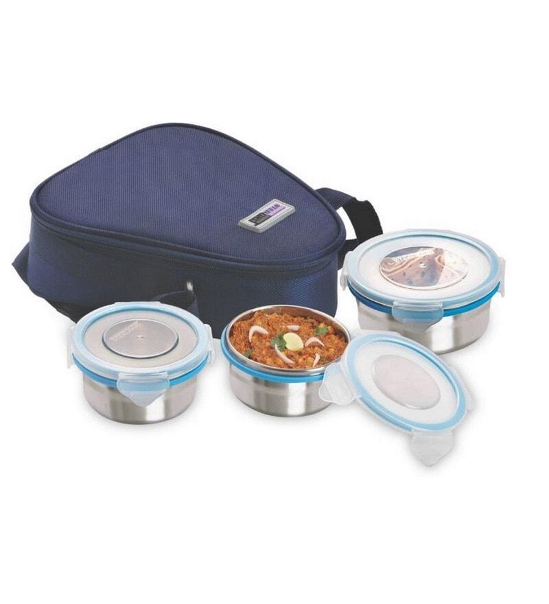 Steel Lock Airtight 3 pc (200 ml x2 & 400ml x 1) Tiffin Box with Insulated Bag