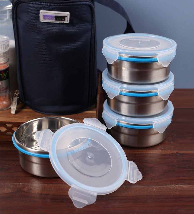 Steel Lock Airtight 4 pc Lunch Meal Tiffin Box with Blue Insulated Bag