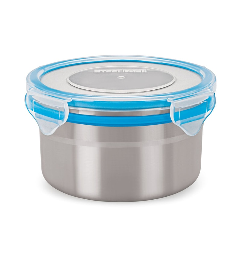 Steel Lock Silver Round 500 ML Food Containers - Set of 6