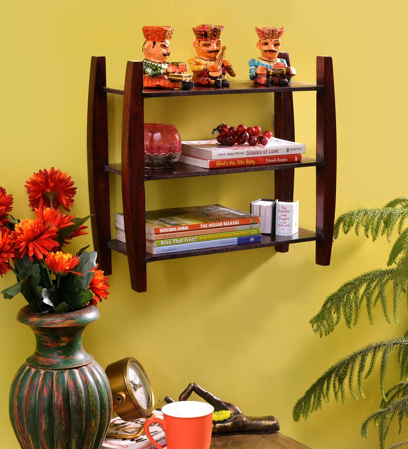 Passion Mahogany Wooden Bingo 3 Tier Wall Shelf by La Stella
