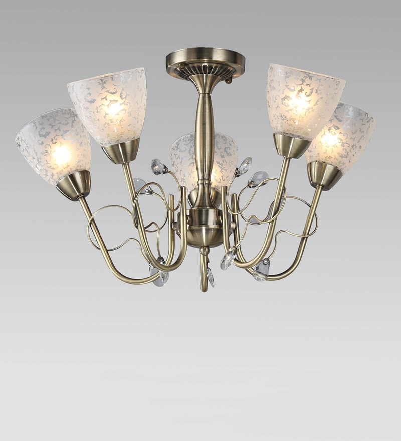 Brown and White Metal and Crystal Chandelier by Stello