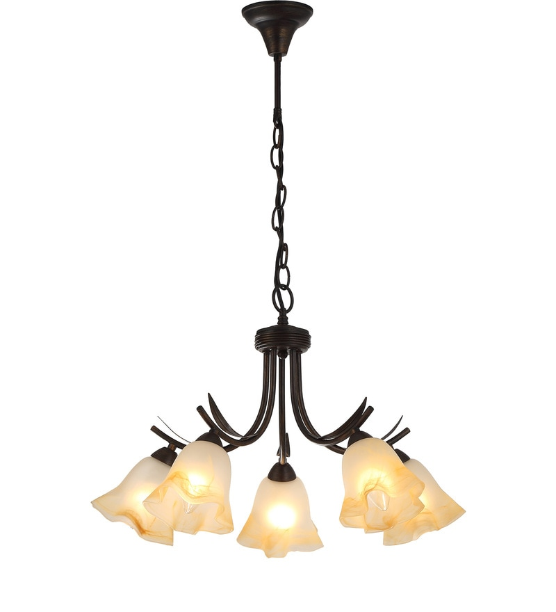 Brown and White Metal and Glass Chandelier by Stello